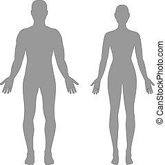 silhouetten, mann, weibliche