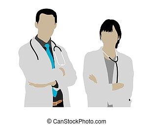 silhouetten, mann, weiblicher doktor