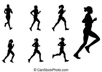silhouetten, marathonläufer, weibliche