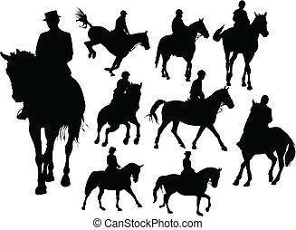 silhouetten, pferd mitfahrer