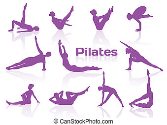 silhouetten, posen, pilates, violett