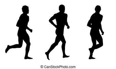 silhouetten, rennender , satz, 3, mann