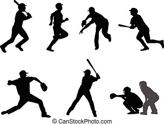 silhouetten, satz, baseball