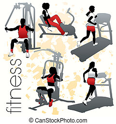 silhouetten, satz, fitness
