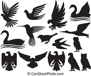 silhouetten, satz, vögel