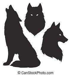 silhouetten, satz, wolf, freigestellt