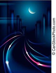 silhouetten, schöne , nighttime., dunkel, hintergrund., groß, cityscape, bunte, effekt, hintergrund, licht, stadt, verwischen, spur, gebäude, fahrzeuge, skyline., landstraße, vektor