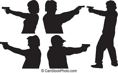 silhouetten, schießen pistole