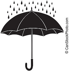 silhouetten, schirm, regen