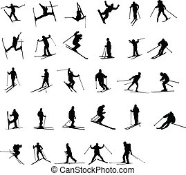 silhouetten, ski fahrend