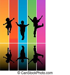 silhouetten, springende , kinder