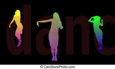 silhouetten, tanzen., farbig