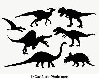 silhouetten, tier, dinosaurierer