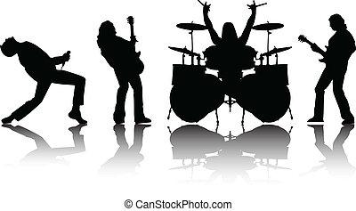 silhouetten, vektor, musicans, satz