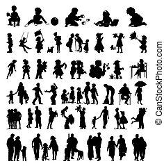 silhouetten, von, a, familie, und, kinder, ihm, gleichfalls, schwarz, colours., a, vektor, abbildung