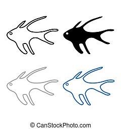 silhouetten, von, fish-, vektor, abbildung