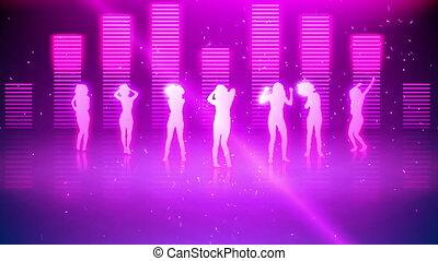 silhouetten, von, frauen, tanzen