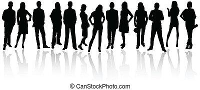 silhouetten, von, geschäftsmenschen