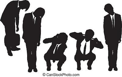 silhouetten, von, kaufleuten zürich, schauen, deprimiert