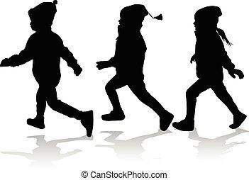 silhouetten, von, kinder, running.