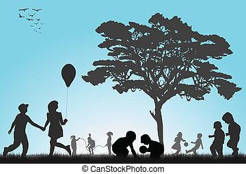 silhouetten, von, kinder, spielen, draußen