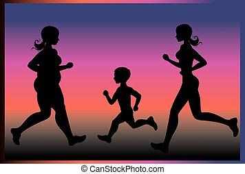 silhouetten, von, leute, rennender