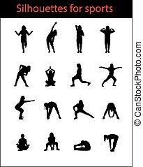 silhouetten, von, mädels, sport