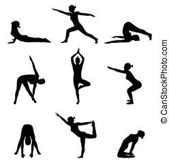 silhouetten, von, m�dchen, stretching., joga, und, übung, haltung