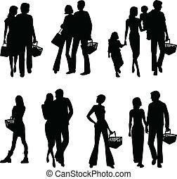 silhouetten, von, shoppen, leute