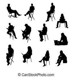 silhouetten, von, sitzen, geschäftsmenschen