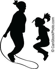 silhouetten, von, springende , rope-vector