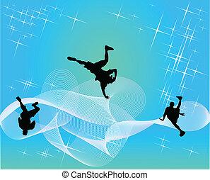 silhouetten, von, streetdancers, teens.