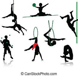 silhouetten, von, zirkus, performers.