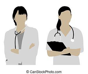silhouetten, weiblicher doktor