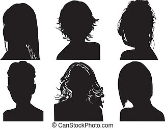 silhouetten, womens, köpfe
