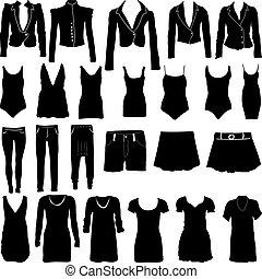 silhouetten, womens, kleidung