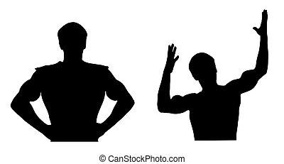 silhouetten, zwei, sport