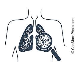 silhouetteof lung disease black