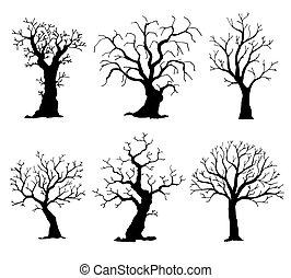 silhouettes., árvore, isolado, cobrança, vetorial, árvores, fundo, branca