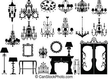 silhouettes, éclairage, meubles