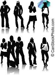silhouettes., špatně, vektor, devět, ženy