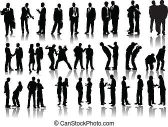 silhouettes., μικροβιοφορέας , illustra , άνθρωποι