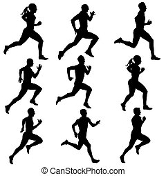 silhouettes., τρέξιμο , μικροβιοφορέας , θέτω , illustration.
