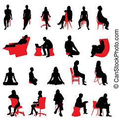 silhouettes, сидящий, люди