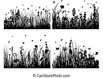 silhouettes, трава, задавать