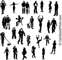 silhouettes., ベクトル, セット, 人々