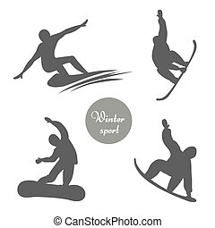 silhouettes., ベクトル, セット, snowboard/skier