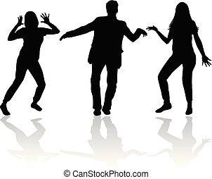 silhouettes., 矢量, 跳舞, work., 人們
