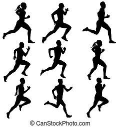 silhouettes., 달리기, 벡터, 세트, illustration.