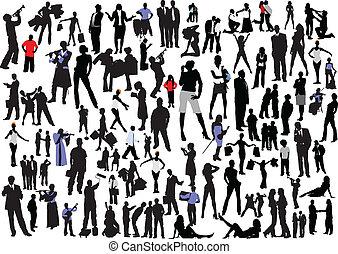 silhouettes., 100, vektor, col., folk